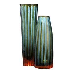"""11.50"""" Large Chiseled Striped Vase"""